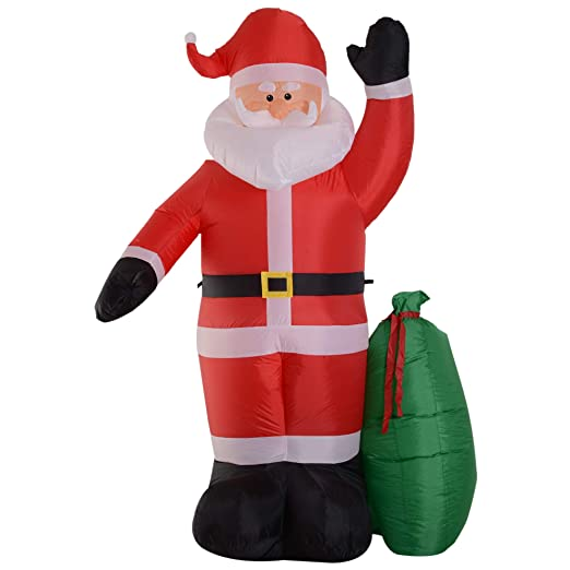 HOMCOM Papá Noel Hinchable Luminoso con Bolsa de Regalo Luces LED ...