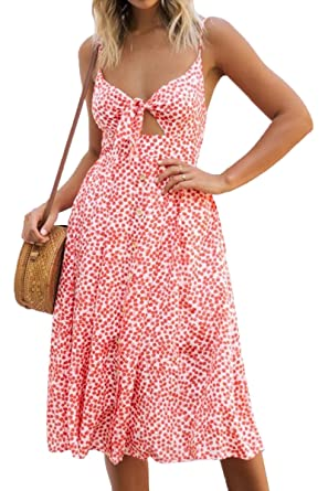 4a845b5d72e Meyeeka Womans Strappy Bowknot Polka Dot Dress Summer Button Trim Swing Sun  Dresses S Orange