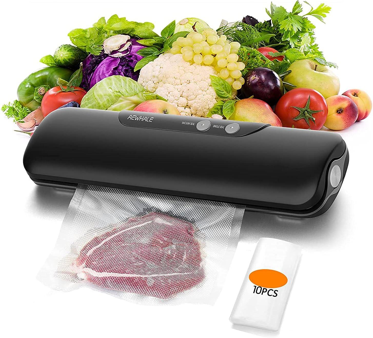AEWHALE Vacuum Sealer Machine Food Saver, Automatic Food Sealer Vacuum Packing Machine for Food Preservation with 10Pcs Vacuum Bags, Black