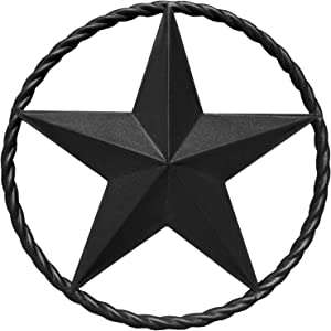 "EcoRise Black Barn Star – Metal Stars for Outside, Texas Star Metal Wall Décor for House, Iron Rustic Vintage Decoration, Western Country Home Farmhouse Wall Art Outdoor Decorations (12"")"