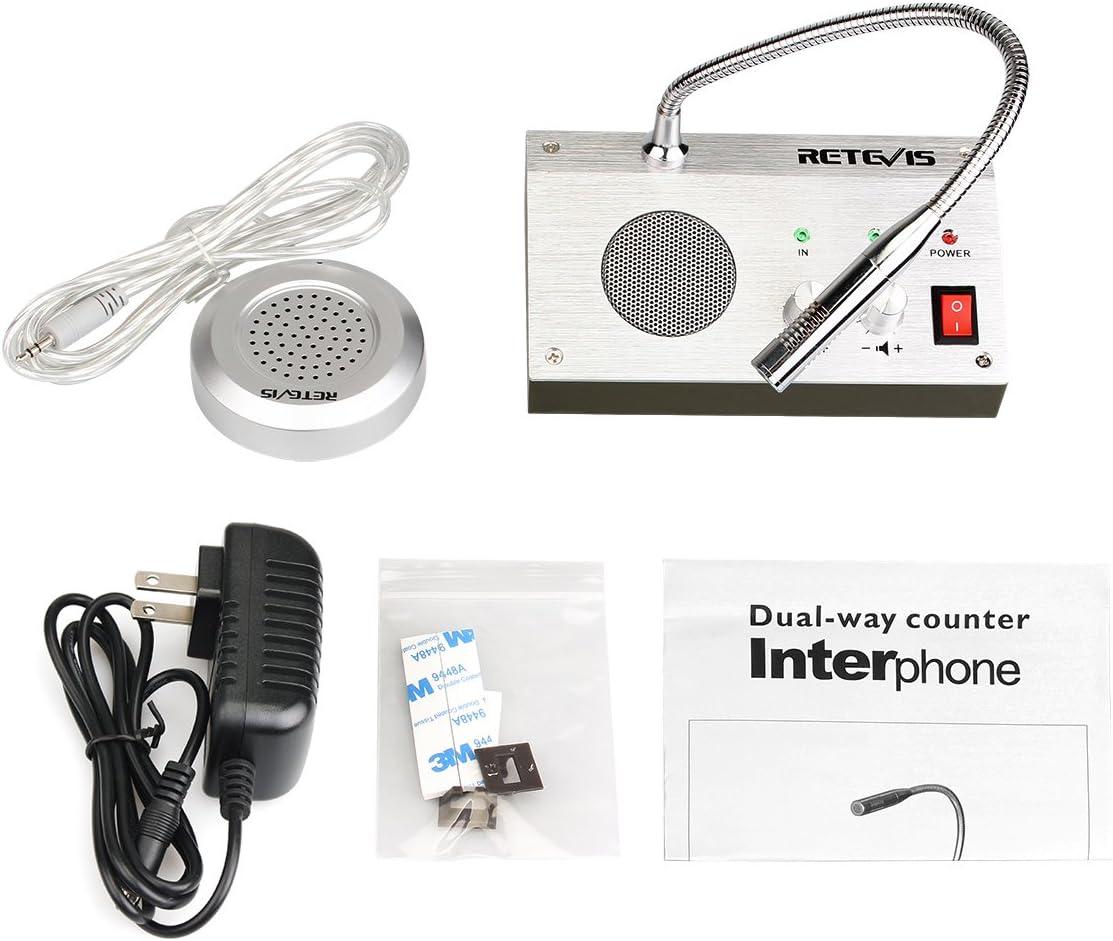 ZHUDELE-9908 Anti-interference Noise-Free Bank Counter Window Intercom System Dual-way Microphone Audio Record Output Interphone//Radio//Walkie Talkie 3W//3W Silver