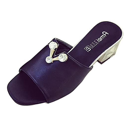 dbe2c20ecfff11 Gaorui Cute Women Girl Rhinestone Chunky Block Heel Sandals Slippers Faux  Leather Shoes Black