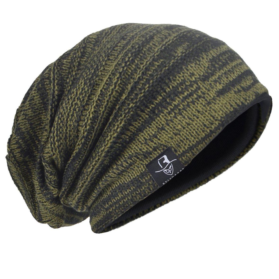 cfb6ee30174 HISSHE Men Oversize Skull Slouch Beanie Large Skullcap Knit Hat (AGreen1)  at Amazon Men s Clothing store