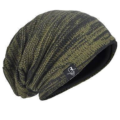 Men s Knit Beanie Slouch Baggy Skull Cap Vintage Long Hip-hop Winter Hat  (AGreen 13392e7d127
