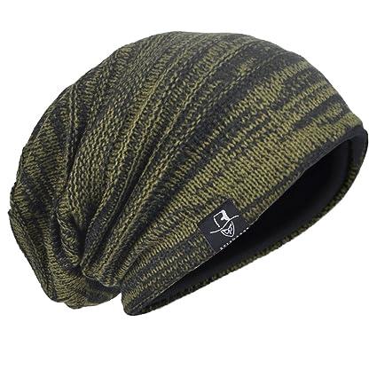 a75068640c5 HISSHE Men Oversize Skull Slouch Beanie Large Skullcap Knit Hat (AGreen1)  at Amazon Men s Clothing store