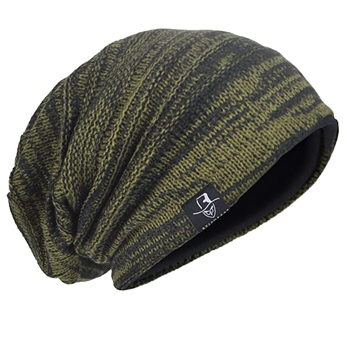 b746caca09e HISSHE Men Oversize Skull Slouch Beanie Large Skullcap Knit Hat (AGreen1)