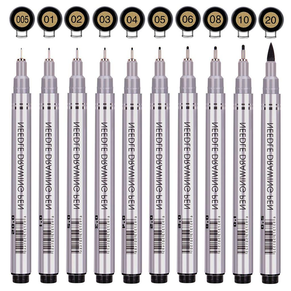 Fineliner Technical Drawing Artist Illustration Sketching Black Waterproof Archival Ink 10//Set Manga Pens Writing Anime Multiliner Office Documents/&Scrapbooking Precision Micro-Line Pens
