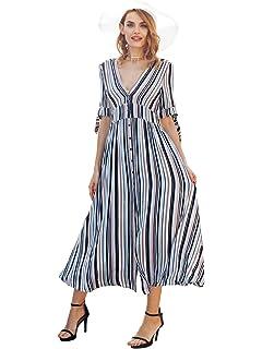 b0ace26075ad Missy Chilli Damen Sommer Bodenlang Kleid Lässiges Elegant Kurzarm V  Ausschnitt Gestreift Maxikleid