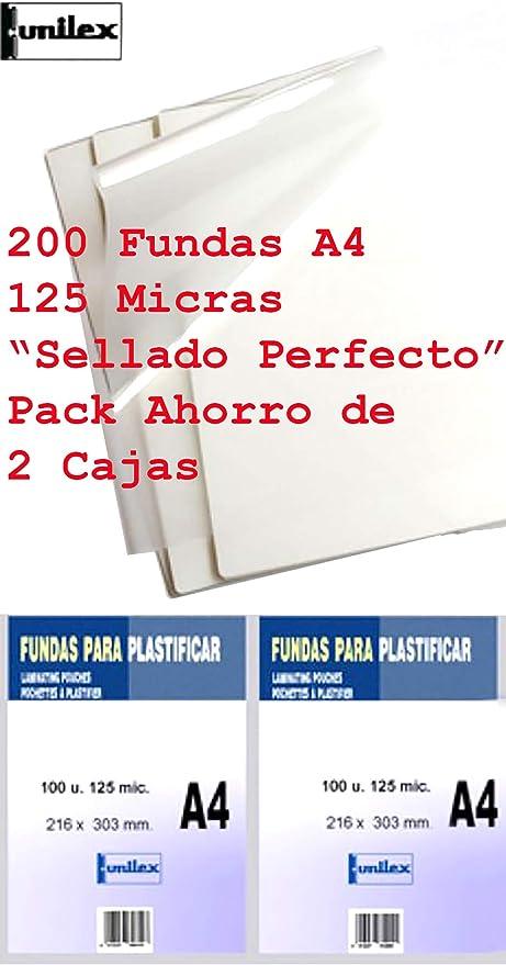Fundas de Plastificar DIN A4 125 Micras Pack Ahorro de 200 Fundas Sellado Perfecto Gramaje Recomendado para Colegios y Oficinas acabado SemiBrillo muy Baratas: Amazon.es: Oficina y papelería