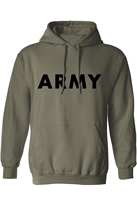 : Army Hooded Sweatshirt in Gray Small: Clothing