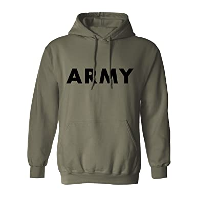28bdab32 Amazon.com: Army Hooded Sweatshirt in Military Green: Clothing