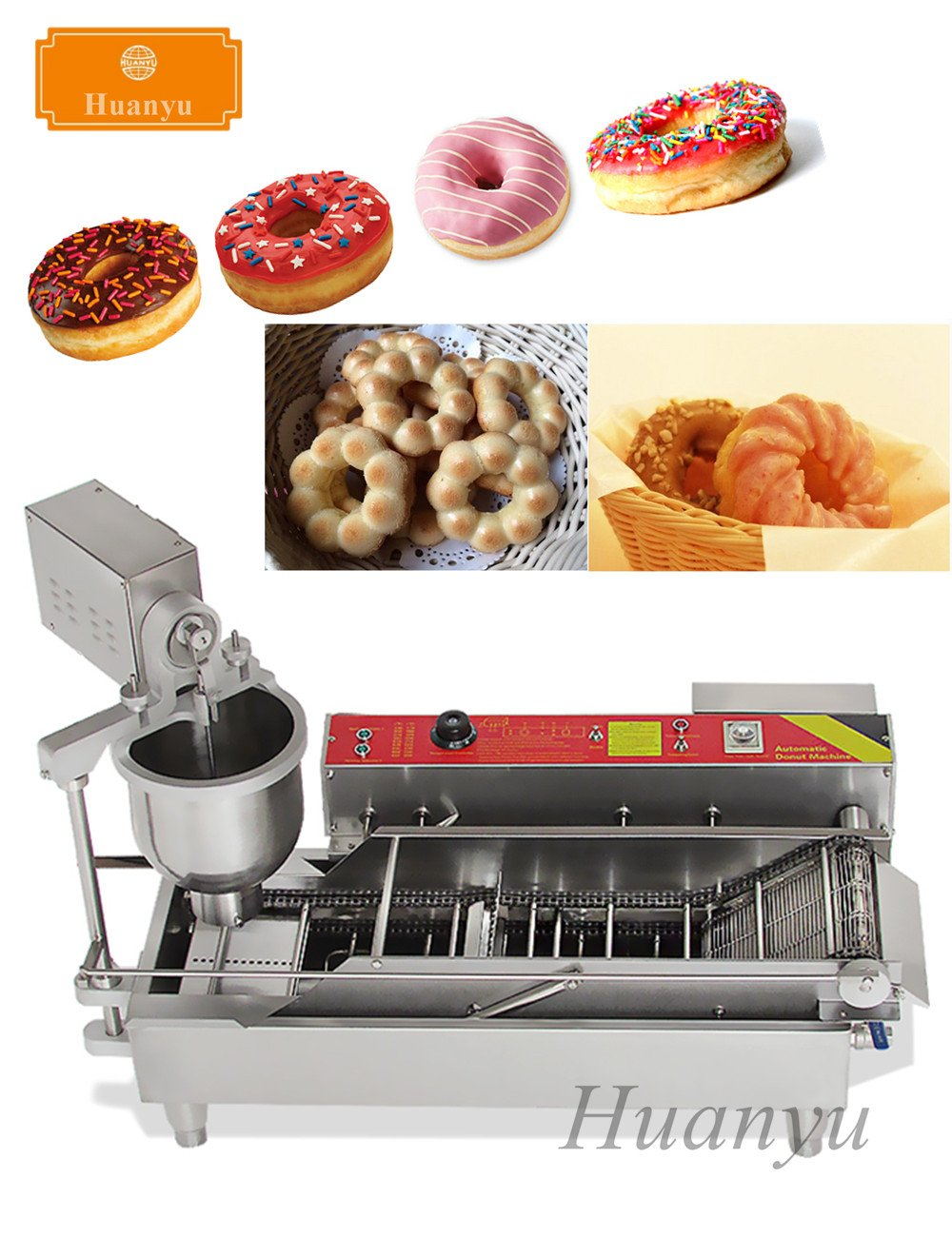 Huanyu NP-1 Auto Donut Making Machine 7L Commercial Electric Cake Donut Maker, with 3 Kinds of Donut Mould (220V)