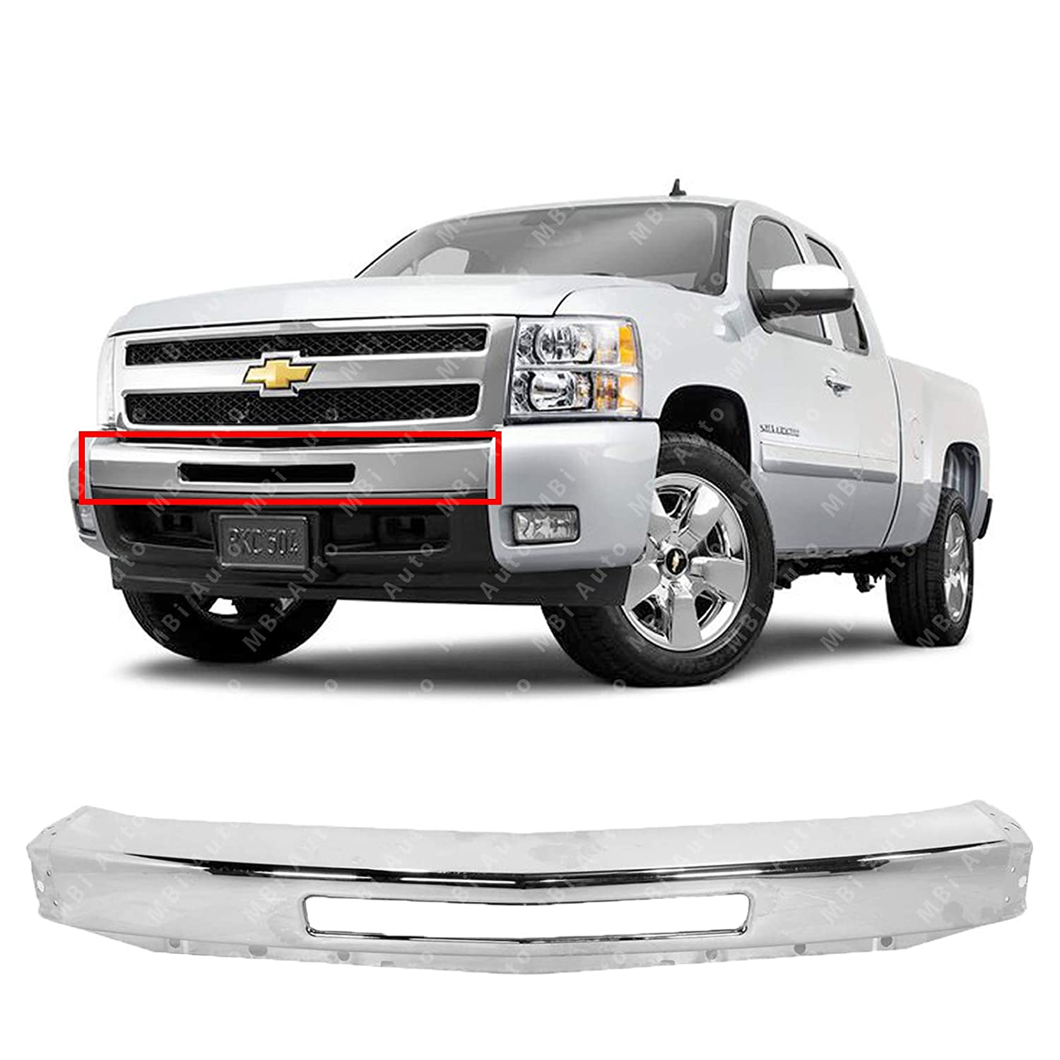 Mbi Auto Chrome Steel Front Bumper Impact Face Bar For 2007 2008 2009 2010 2011 2012 2013 Chevy Silverado 1500 Pickup 07 13 Gm1002831