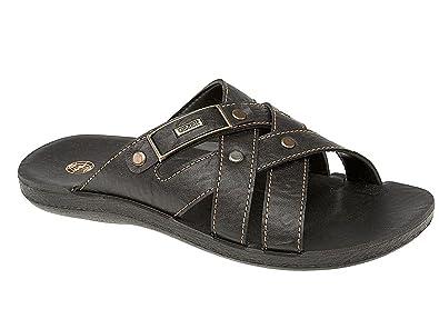 920330083a25 Mens Bruce Gezer Leather Look Slip On Sport Beach Surf Flip Flop Mule  Sandals Shoe Black