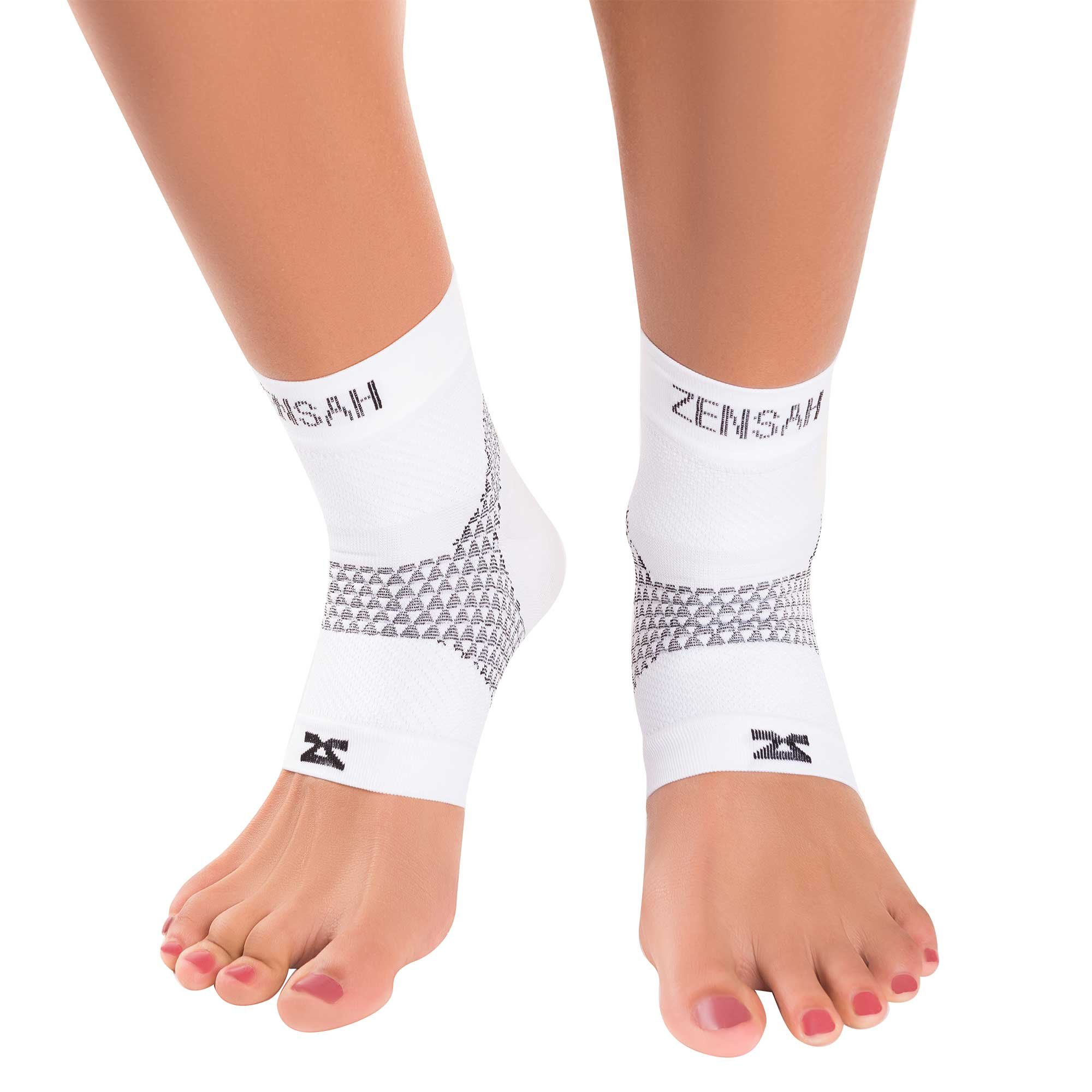 Zensah Plantar Fasciitis Sleeves (Pair) - Plantar Fasciitis Socks, Arch Support, Plantar Fasciitis Brace - Relieve Heel Pain, Arch Support, Small, White