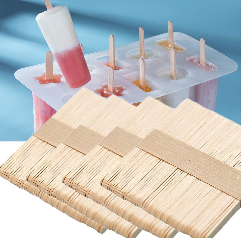 200pcs Popsicle Sticks, Natural Wooden Food Grade Craft Sticks, Ice Cream Sticks 4-1/2