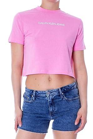 d5eef1c71b Calvin Klein Jeans Woman t-Shirt Shrunken institutional Crop Color ...