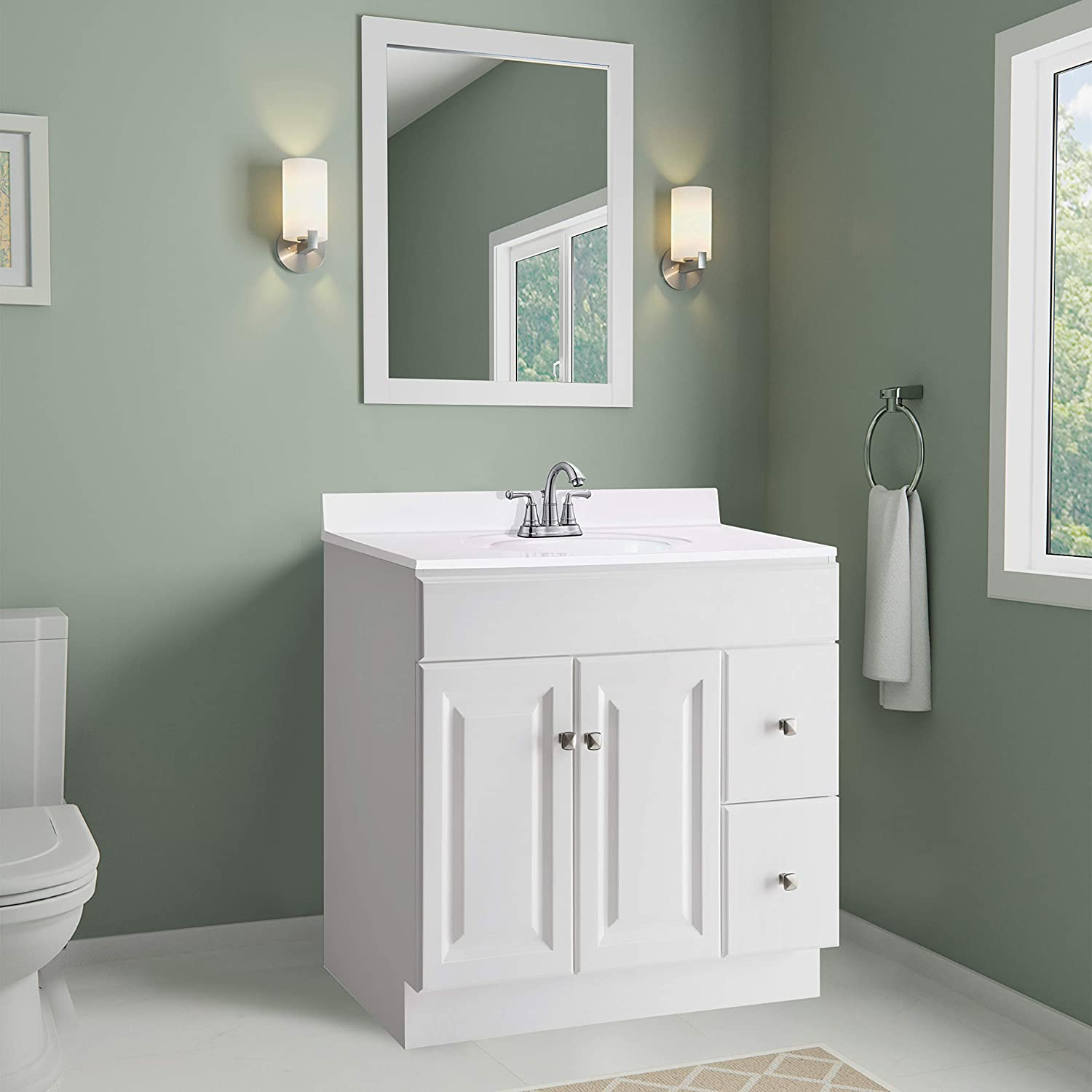 Design House 551333 31X19-Inch Marble Vanity Top with Bowl, White ...