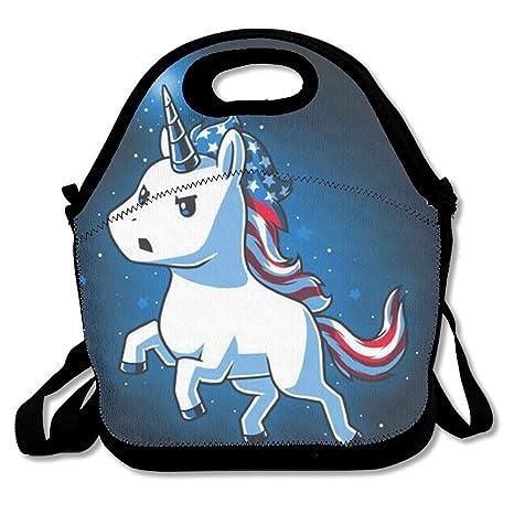 Amazon.com: Bandera Americana unicornio bolsa de almuerzo de ...
