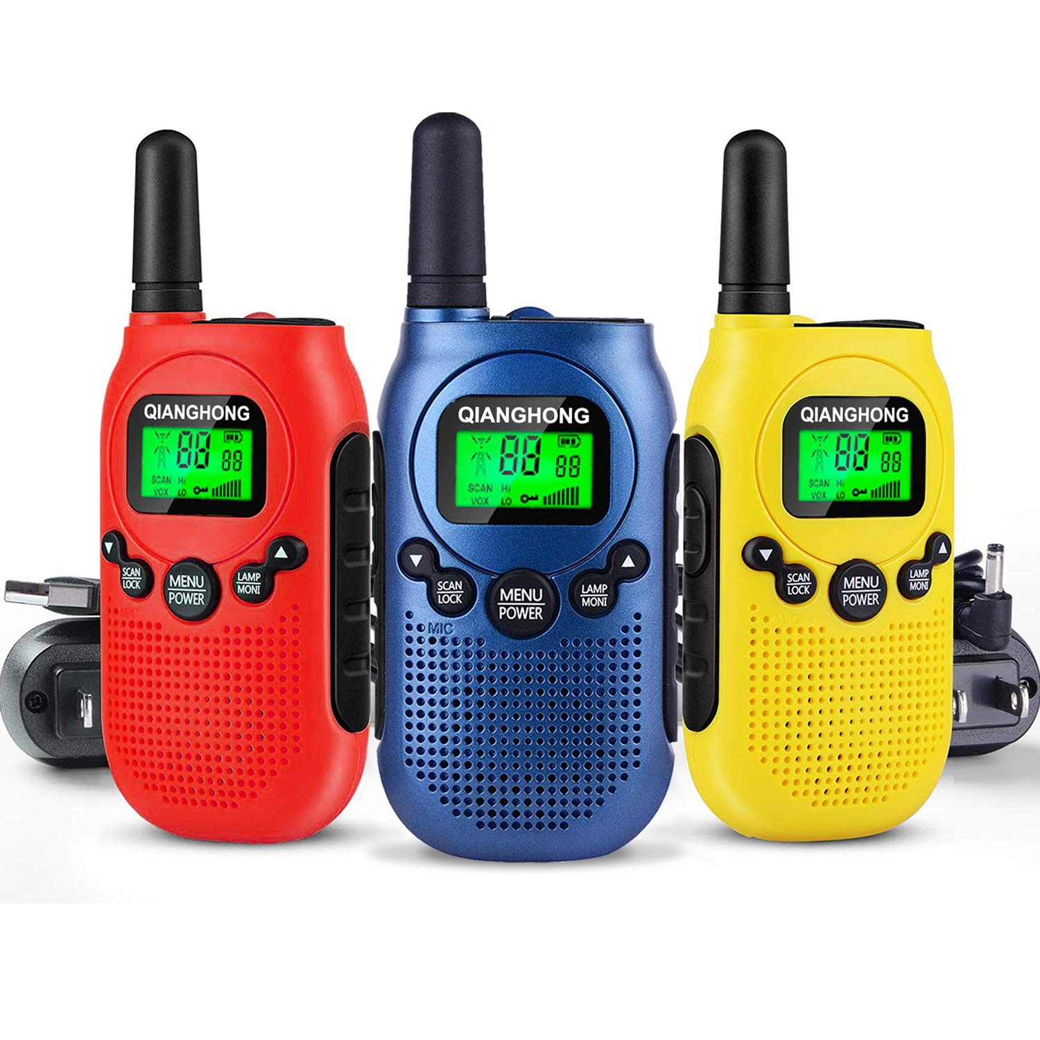 Qianghong Rechargeable Walkie Talkies for Kids Included Li-ion Battery and Charger (Red&Yellow&Blue)
