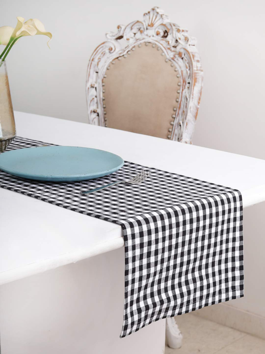 Cotton Table Runner (13 X 72 Inches), Black & White Check - 1'' Hemmed With Mitered Corner,Perfect For All Seasons And Holidays