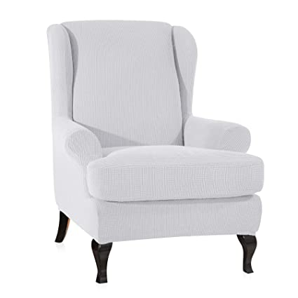 CHUN YI 2 Piece Stretch Jacquard Spandex Fabric Wing Back Wingback Armchair  Chair Slipcovers (