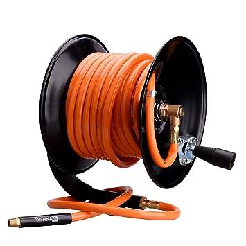 Wynnsky Steel Manual Air Hose Reel Include 3 8 X50ft Pvc Air Compressor Hose With 1 4 Mnpt Brass Endings Lead In Hose Bonus
