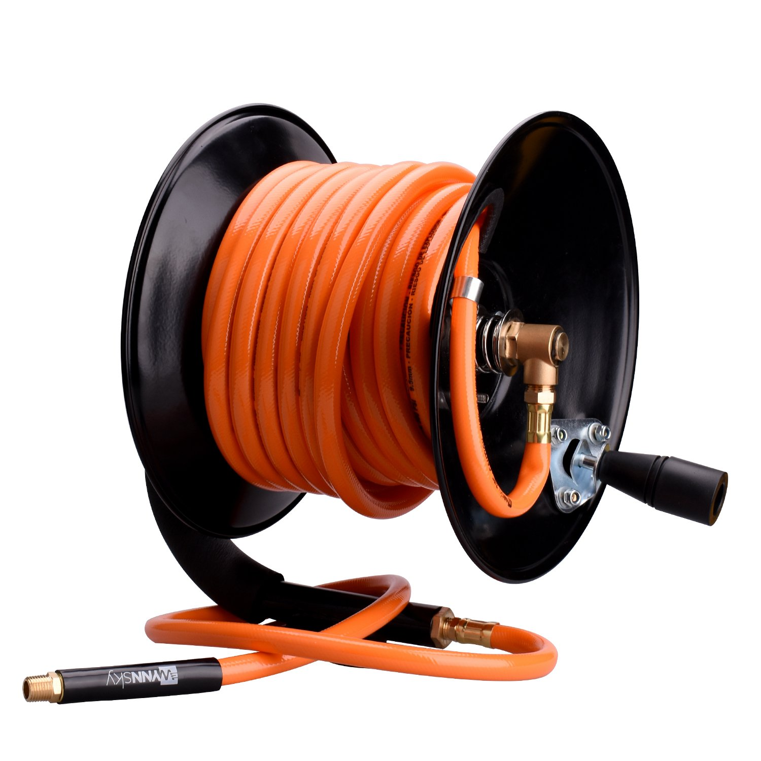 WYNNsky Steel Manual Air Hose Reel Include 3/8''x50FT PVC Air Compressor Hose with 1/4'' MNPT Brass Endings. Lead-in Hose Bonus
