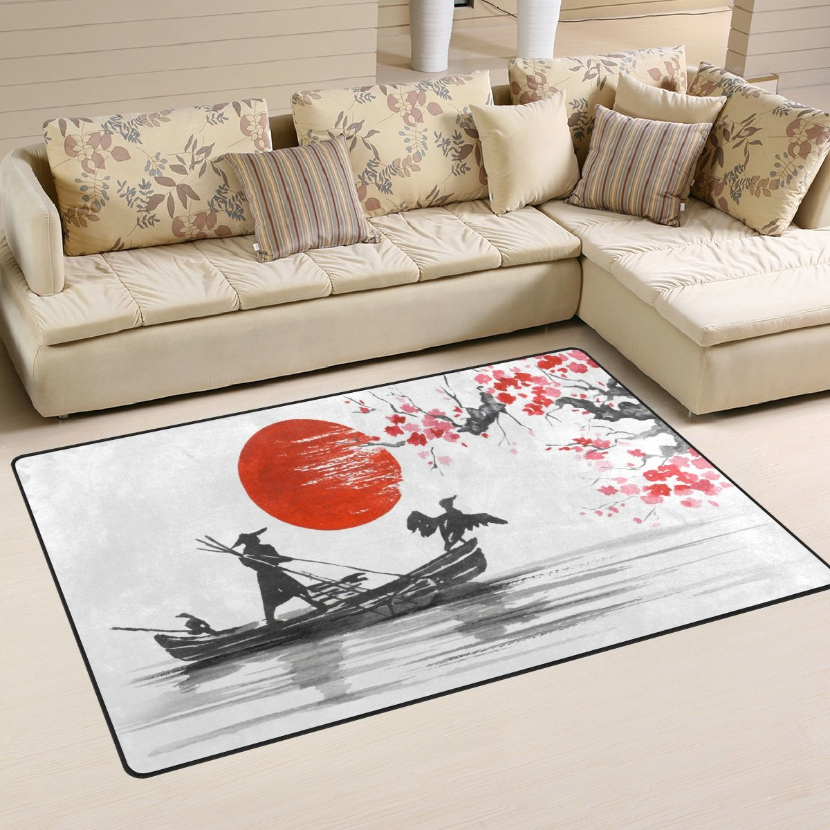 WOZO Japanese Painting Mountain Boat Cherry Blossom Area Rug Rugs Non-Slip Floor Mat Doormats Living Room Bedroom 31 x 20 inches g2987584p146c161s240