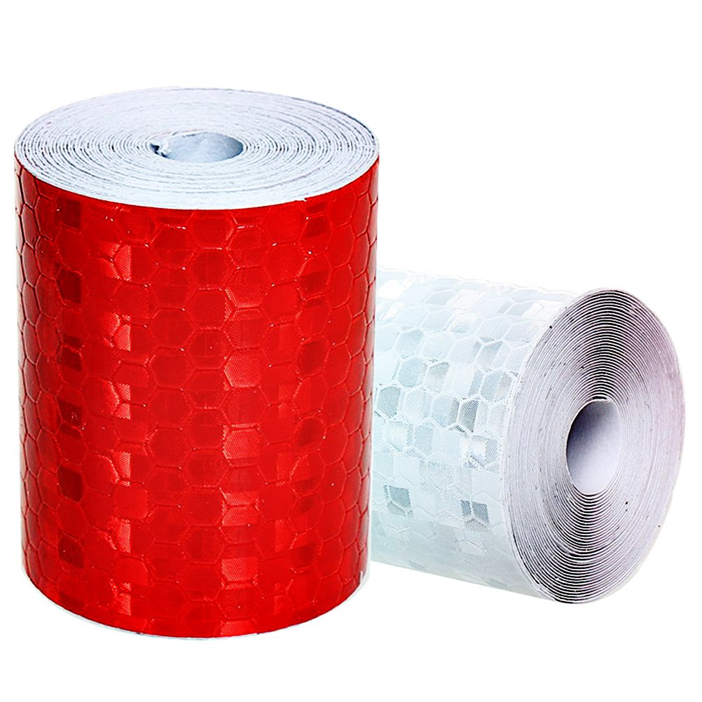 2 Pack Reflector Tape, borte 3M*50mm Reliable High Intensity Warning Tape White and Red