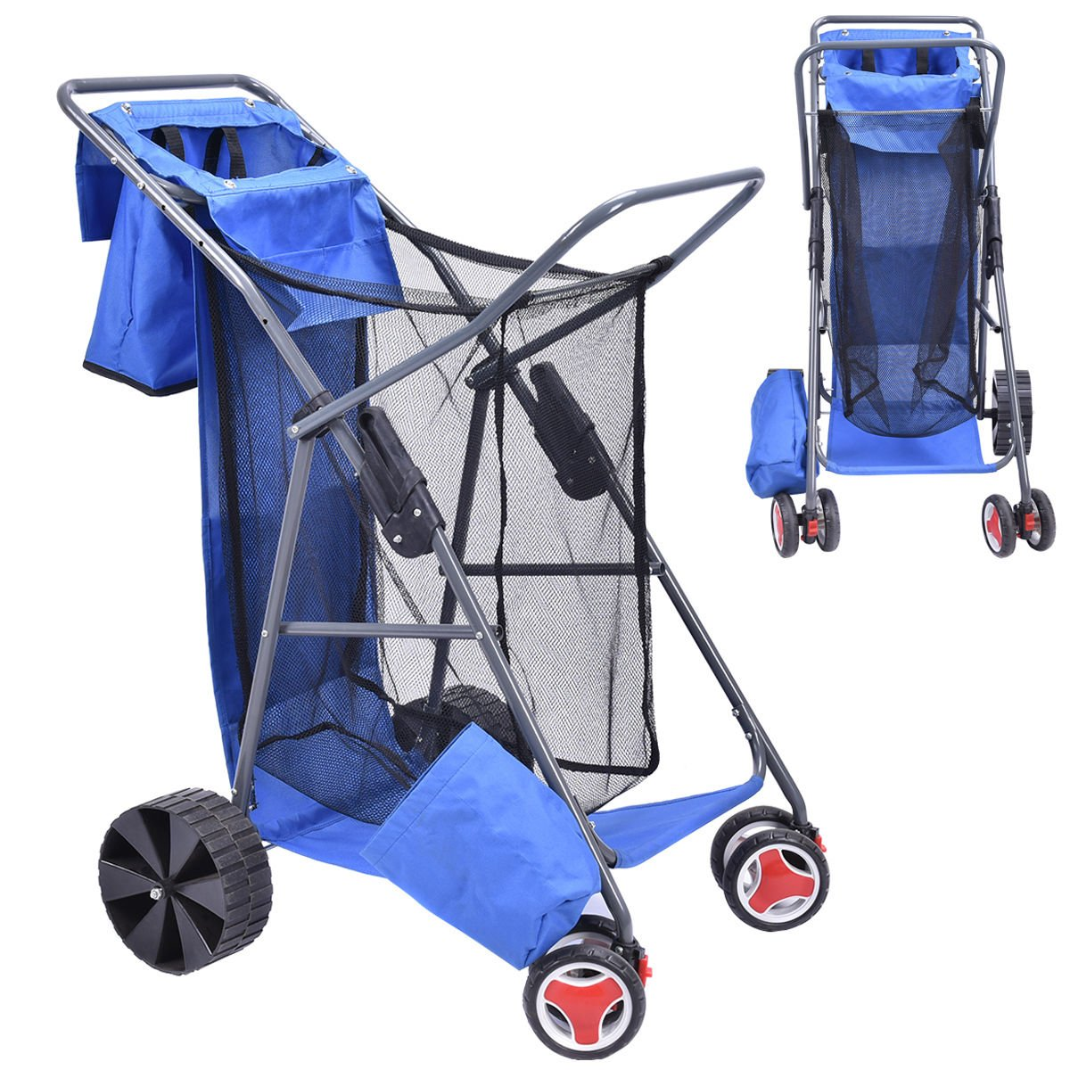 Deluxe Foldable Beach Wonder Tote Cart Folding Storage Transport Wheeler Trolley by Supershop®