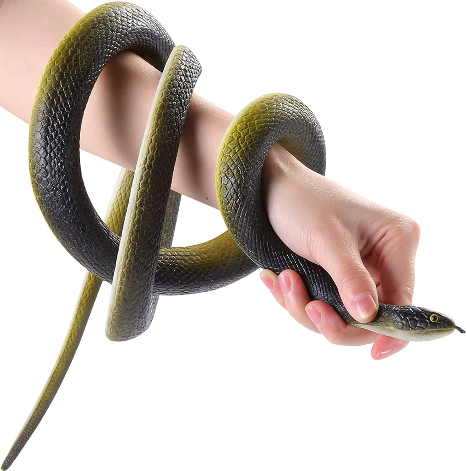 """Wirrabilla 53"""" Large Rubber Snake Super Realistic, Fake Snake Looks So Real, Snake Toy Thick and Durable, Great for Pranks, Halloween Party Decoration, Garden Props - Deter Squirrels, Bunnies, Birds"""