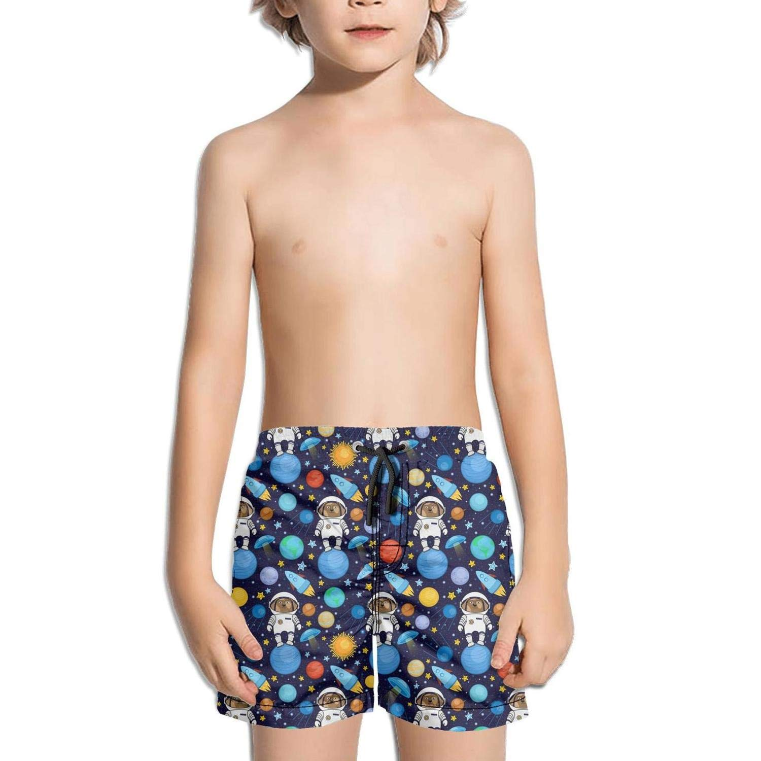 HailinED Boys Kids Blue Dog Astronaut Rockte Quick Dry Beach Swim Trunk Funny Swimsuit Beach Shorts with Drawstring