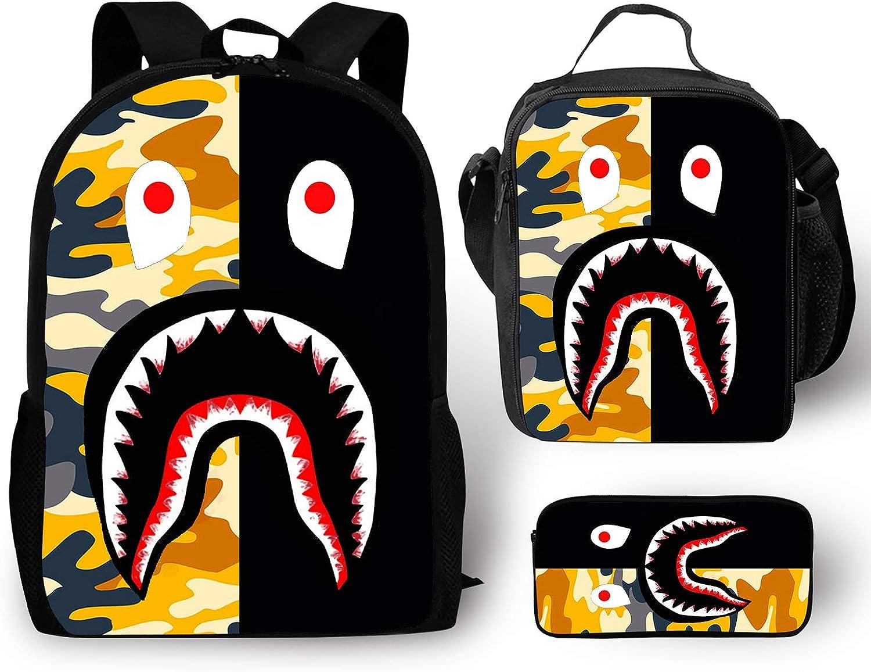 EELMOOR Bape Shark Teeth Camouflage Backpack School Bag Travel Daypack 3 Sets for Boys/Girls