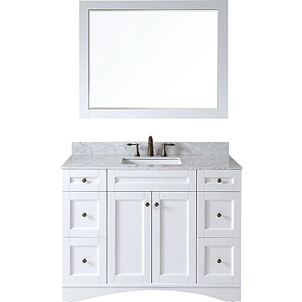 Virtu ES 32048 WMSQ WH Elise Single Bathroom Vanity Cabinet Set, 48u0026quot