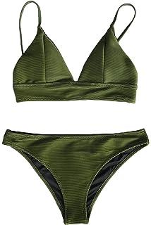 f88b7efbb15c2 CUPSHE Women s Solid Color Sexy Triangle Bikini Set Padded Swimsuit Beach Swimwear  Army Green