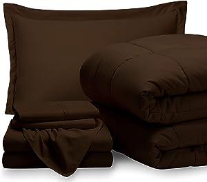 Bare Home Twin XL Sheet Set - 1800 Ultra-Soft Microfiber Bed Sheets (Twin XL, Cocoa) + Comforter Set - All Season (Twin/Twin XL, Cocoa)