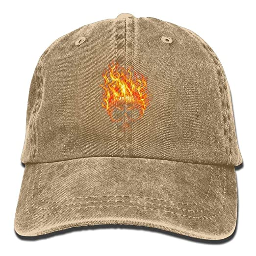 4fda0c74e29 Flame Devil Skull Hat Snap-Back Hip-Hop Cap Baseball Hat Head-Wear ...