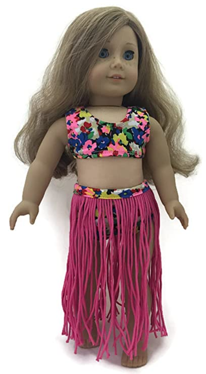 8affb092e2 Amazon.com: Doll Clothes 3 pc Pink Hawaiian Hula Swimsuit Set Fits ...