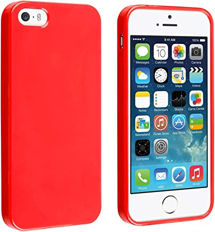 Coque iPhone 5/5S, TPU et Silicone Gel Housse pour iPhone 5/5S, Rouge
