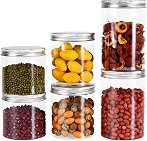 GOBAM Food Storage Container Sets, BPA Free Clear Plastic Kitchen and Pantry Organization Storage Canisters with Easy Lock Lids for Cereal Flour Rice Dry Food Sugar Coffee Beans, 6 Pack