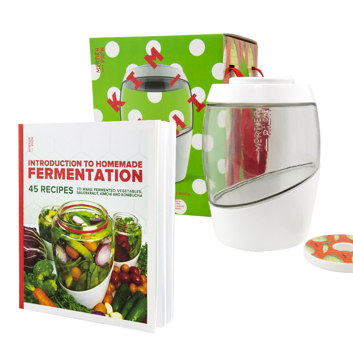 MORTIER PILON 2L Fermentation Crock Kimchi Edition + FREE Recipes Book - Perfect for making Healthy Fermented Foods at home | 2L Fermentation Jar with Ceramic Weights