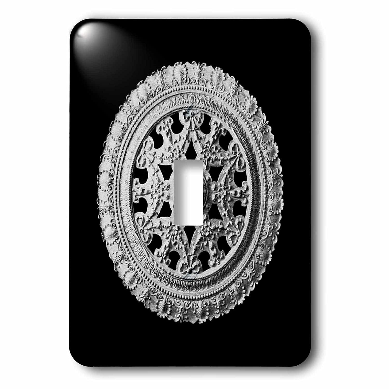 3D Rose lsp/_31790/_1 Silver Gray Ornate Vintage Architectural Element on Black Background-Single Toggle Switch Grey 3dRose