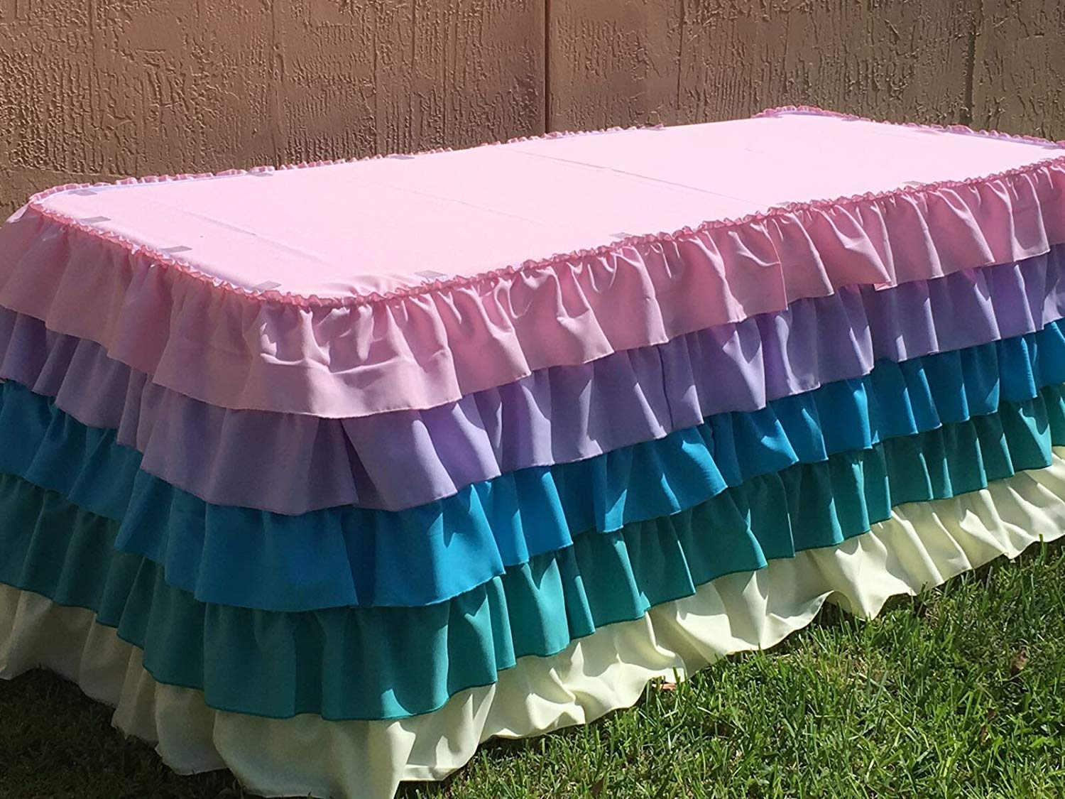 ADD&SHIP 5 Tier Ruffled Polyester Table Skirt | Very Elegant & Durable Table Skirt| Perfect for Birthdays, Classic Events and Others | (Unicorn, 21 Ft)