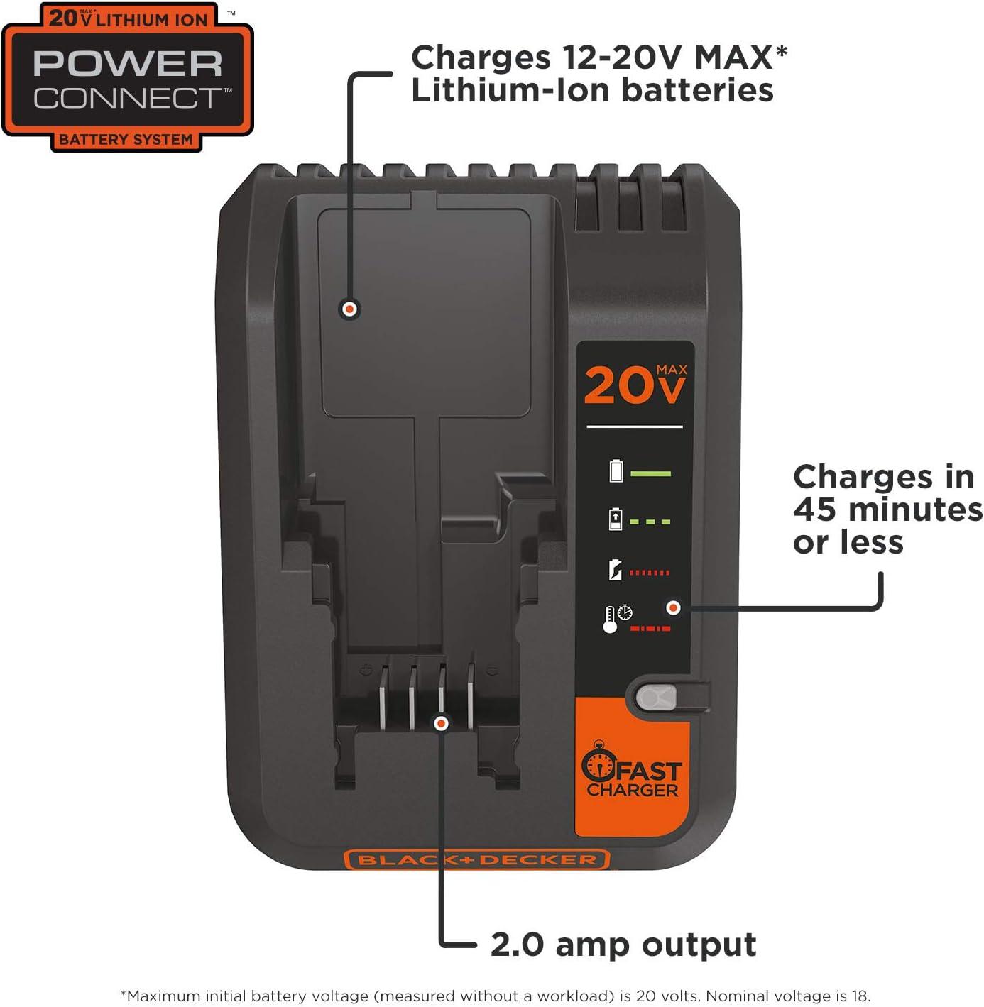 BLACK+DECKER 20V MAX Lithium Battery Charger, 2 Amp Pack of 1, Black
