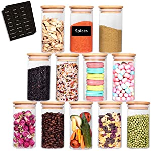 SAIOOL Glass Jars Set of 12,Upgrade Spice Jars Glass with Wood Airtight Lids and Labels, 10oz Small Food Storage Containers for Home Kitchen,Coffee, Tea, Sugar, cookies, Salt, Herbs, Grains