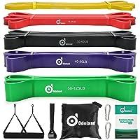 Odoland Fitnessbandenset, pull-up weerstandsband in 5 verschillende treksterktes, expander-banden, set incl. optrekband…