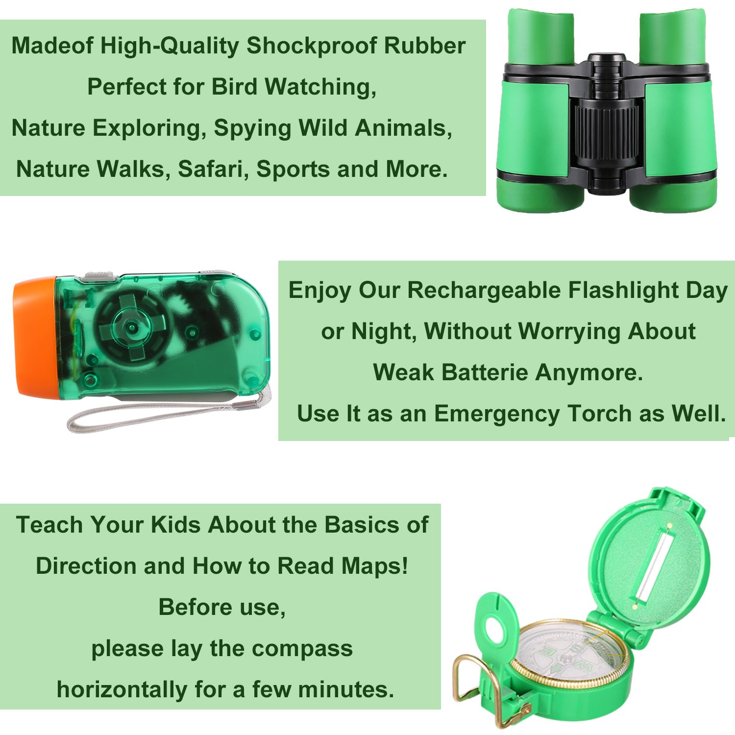 Outdoor Adventure Set for Kids - Explorer Kit, Educational Toys, Binoculars, Flashlight, Compass, Magnifying Glass, Butterfly Net, Tweezers, Bug Viewer, Whistle, Gift Set For Camping Hiking Backyard by Harlerbo (Image #5)