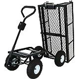 Sunnydaze Steel Dump Utility Garden Cart with Removable Sides, Heavy-Duty 660 Pound Capacity, Black