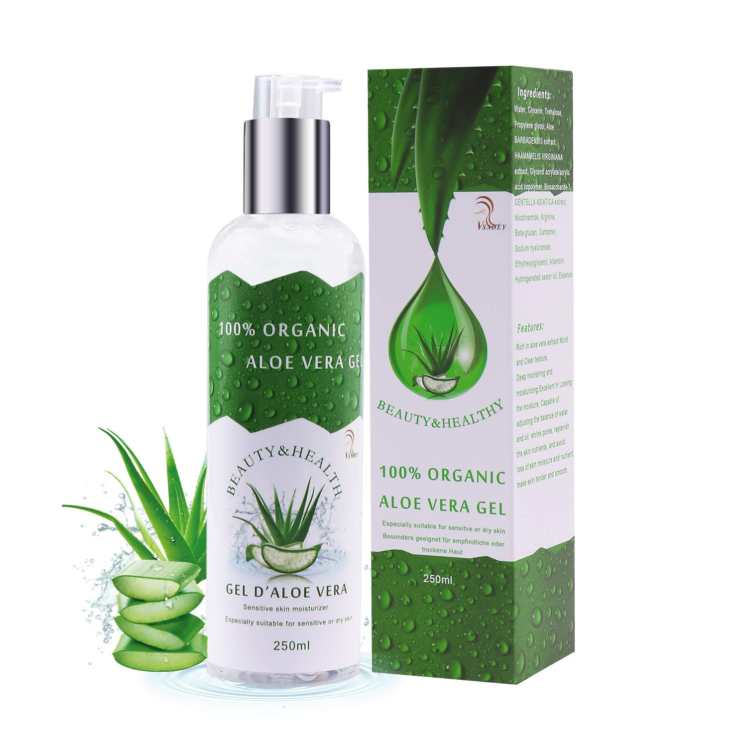 Vsadey Aloe Vera Gel, Concentrated Pure Aloe Gel 100% Natural Organic - Moisturizing Face & Body Skin Hair in Vitamins and Minerals Aloe Vera Cream after Sun Facial Moisturizer Peel Off Anti-Point Deep Cleansing Mask 250ml